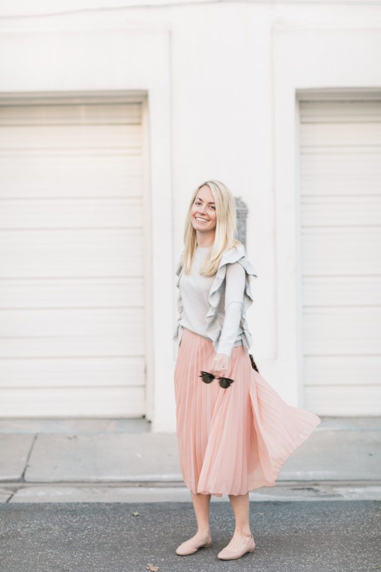 Twirling in a Pleated Midi Skirt on Rhyme & Reason