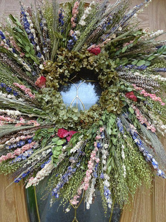 Photo of Wreath  Large Wreath Dried Wreath  Natural Wreath  Garden Wreath  Home Decor  Wall Decoration Gift  Birthday Gift  Wedding Wreath