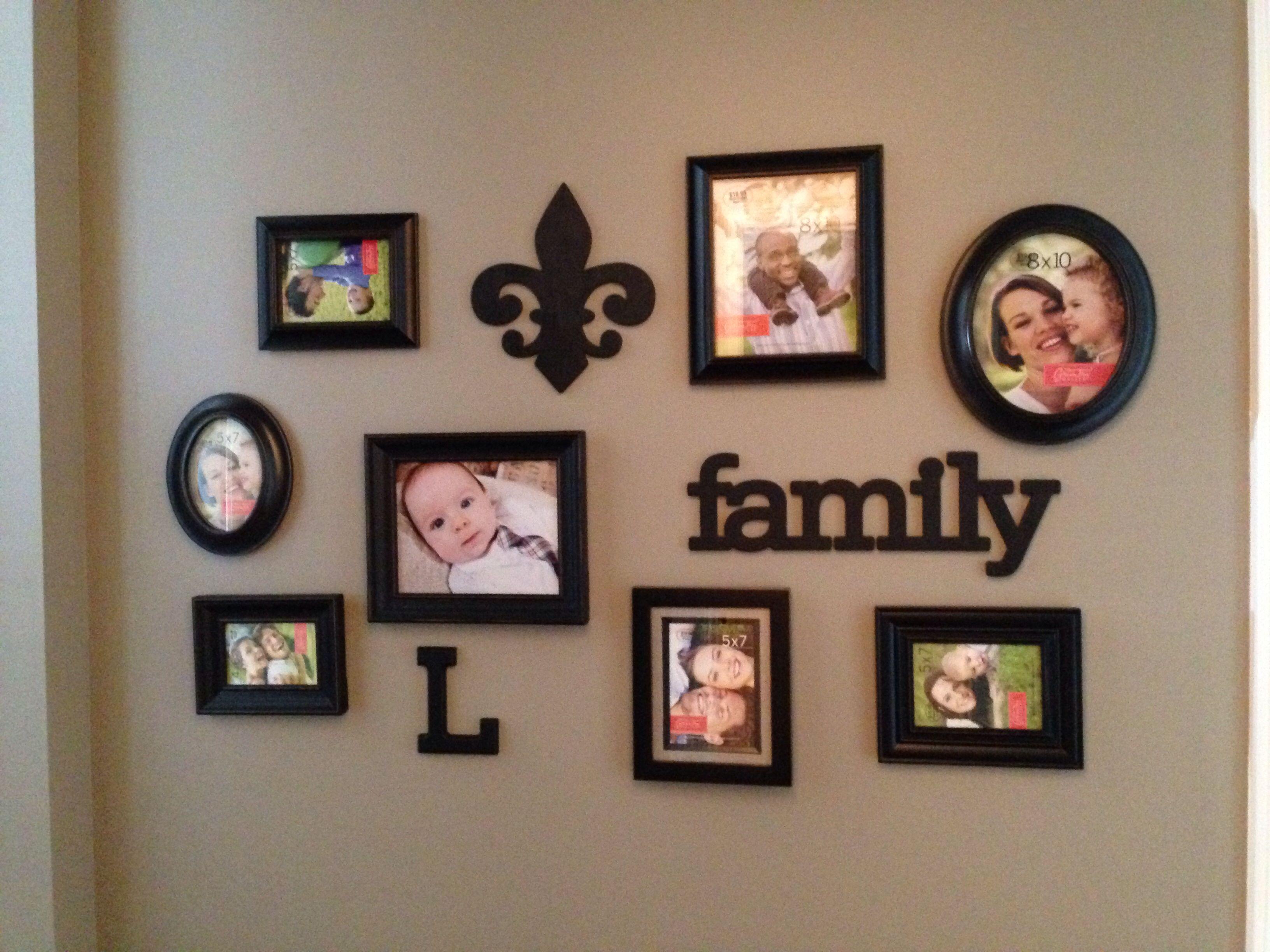 DIY hallway photo gallery cluster of picture frames ~ with fleur de lis & monogram letter #family #fleur de lis