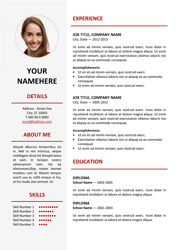 ikebukuro free elegant resume template red for ms word - Elegant Resume Templates
