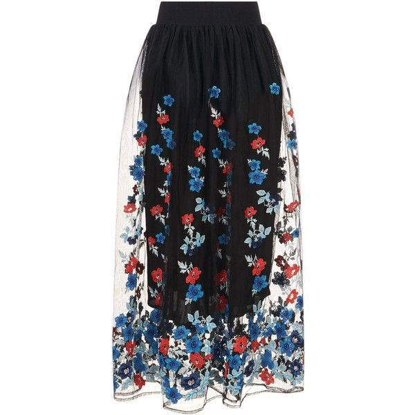 ecfc6dfabb Maje Tulle Floral Embroidered Midi Skirt (15.070 RUB) ❤ liked on Polyvore  featuring skirts, mid-calf skirt, knee length tulle skirt, knee length a  line ...