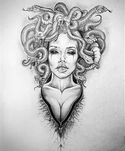 Gorgon, tattoo sketch.  #gorgon, #snakes, #woman, #tattoo, #sketch. Women tattoo – Fashion Tattoos