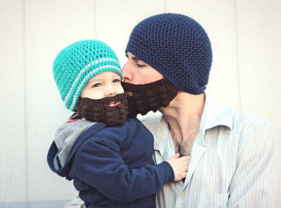Crochet Beard and Beanie set for Adult & Child by gracegloor #crochetedbeards