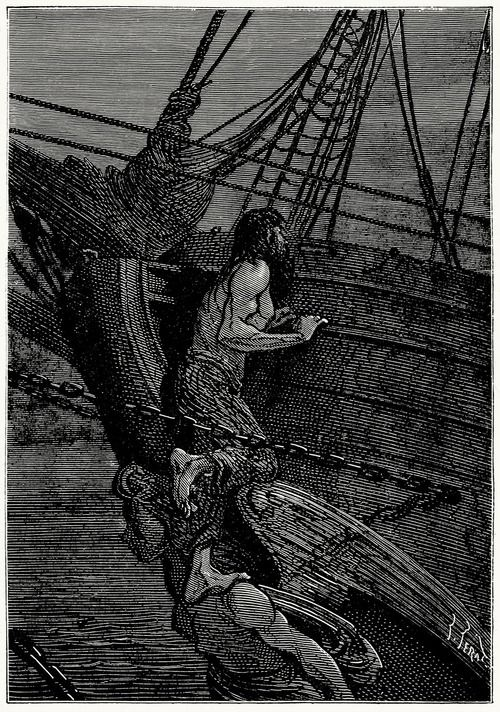 Having Reached A Steady Position Ayrton Listened Jules Ferat From L Ile Mysterieuse The Mysterious Island By Jules Verne Paris 1870
