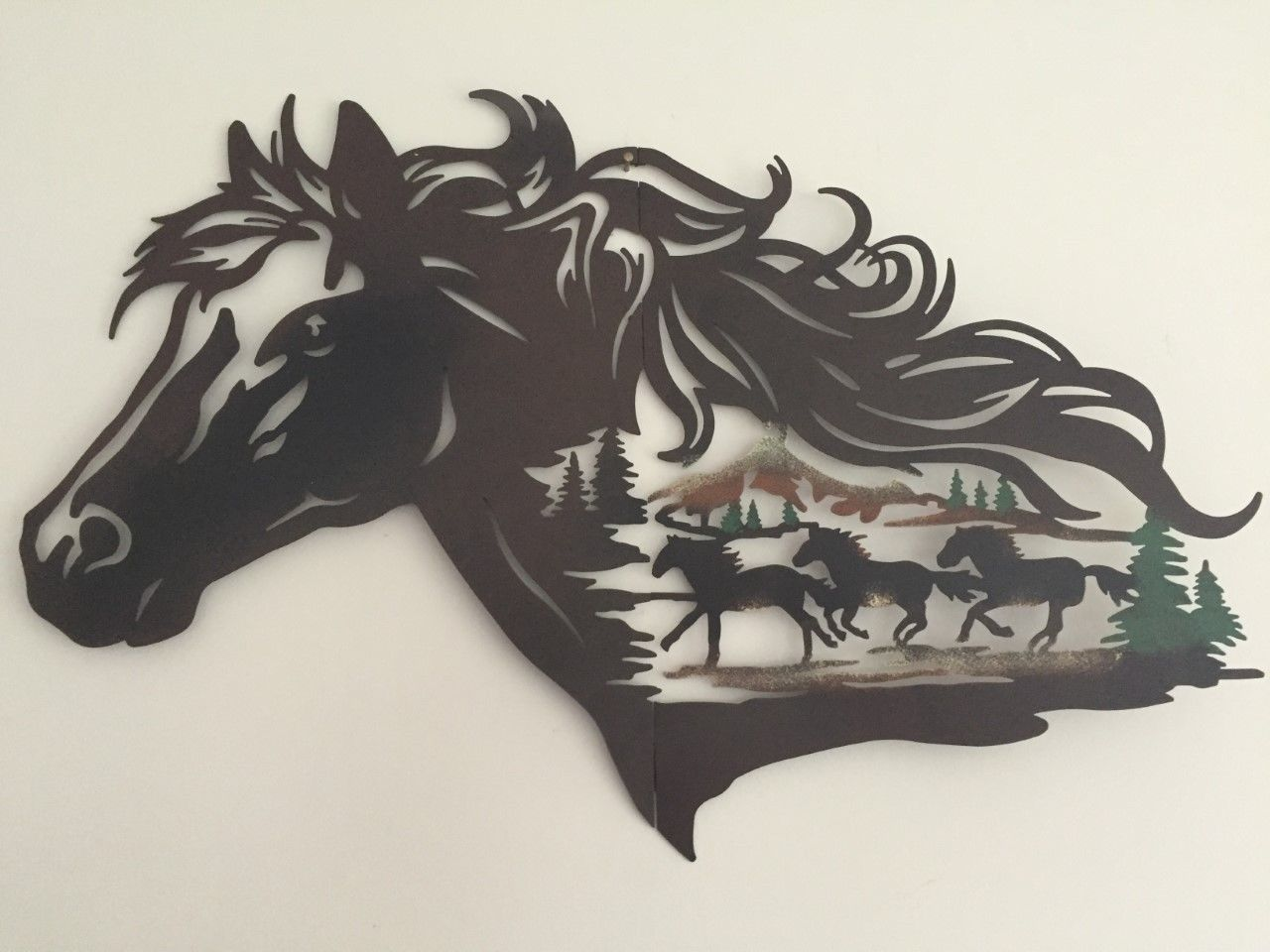 Rustic western horse metal wall art galloping horse cowboy evergreen