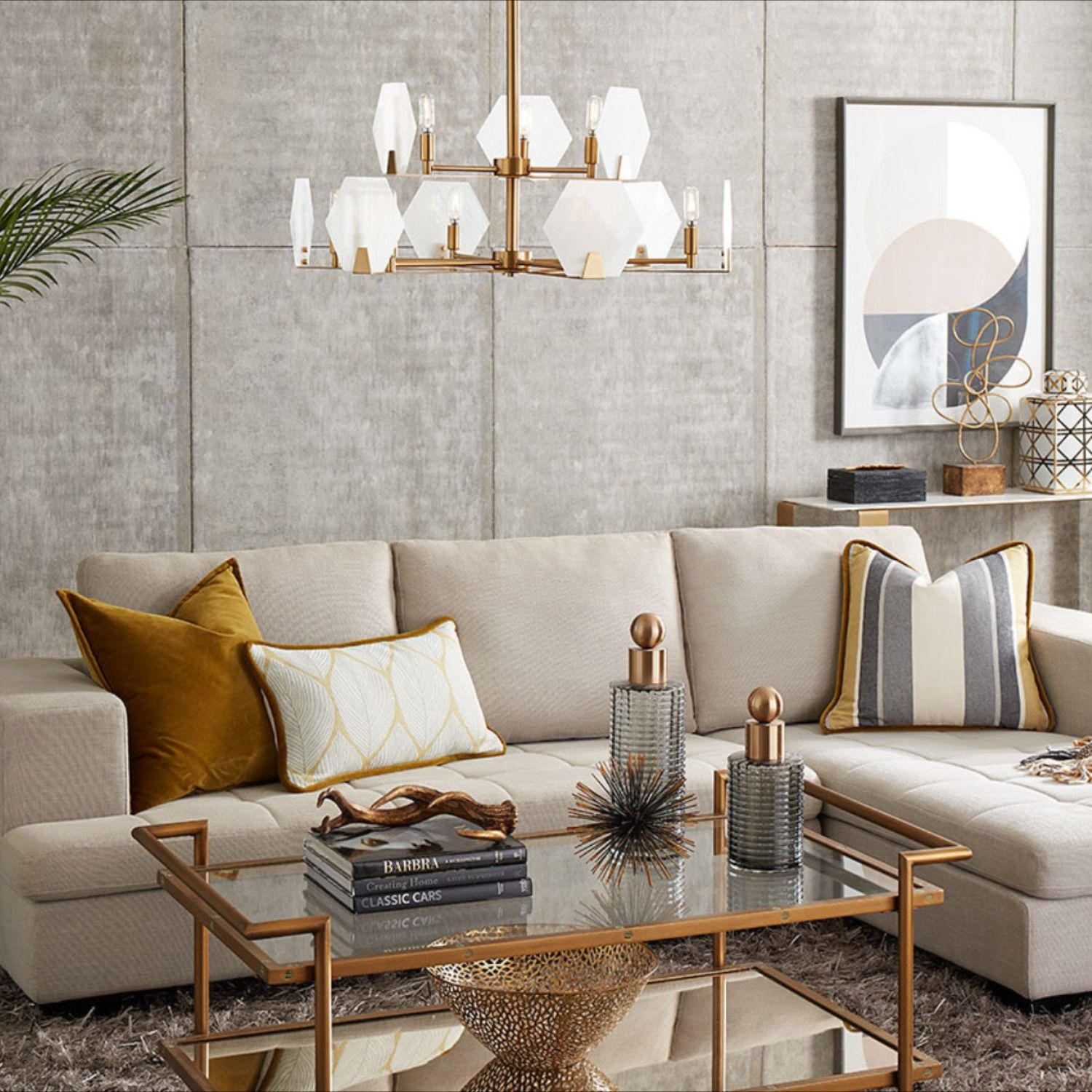 Luxury Living Room Design Accented By Metallic Elements Matching The Geometric Golden Chand Luxury Living Room Luxury Living Room Decor Cream Couch Living Room Metallic living room decor