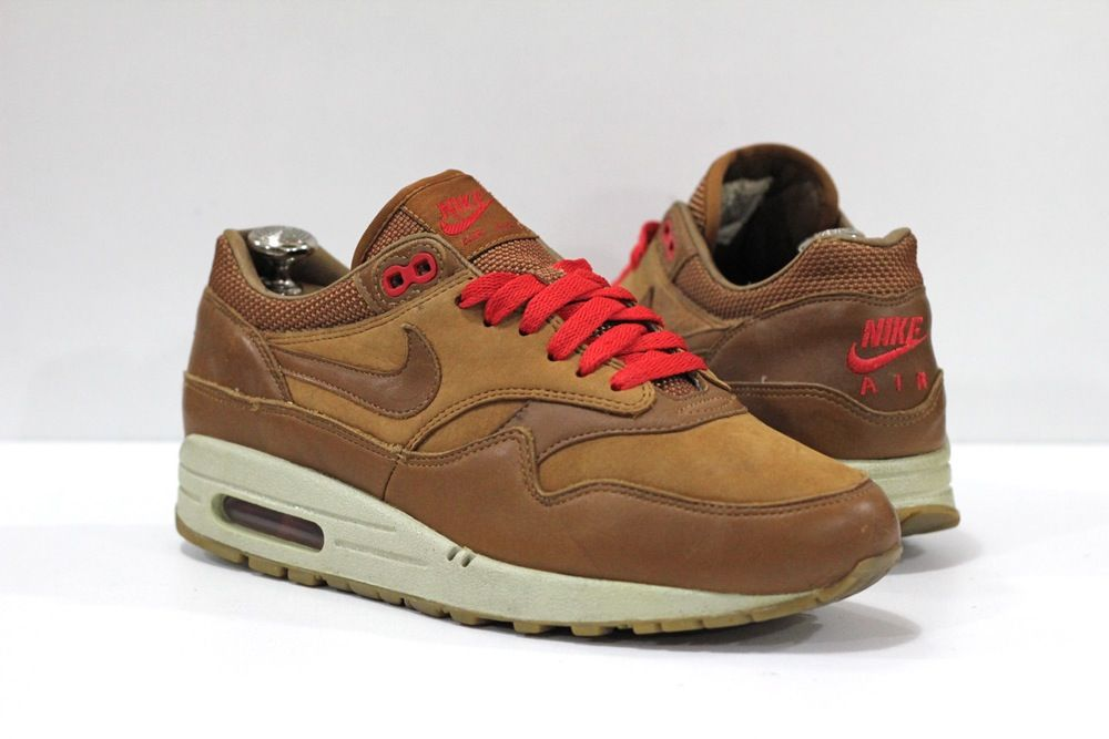sweden nike air max 1 premium leather hazelnut atomic red