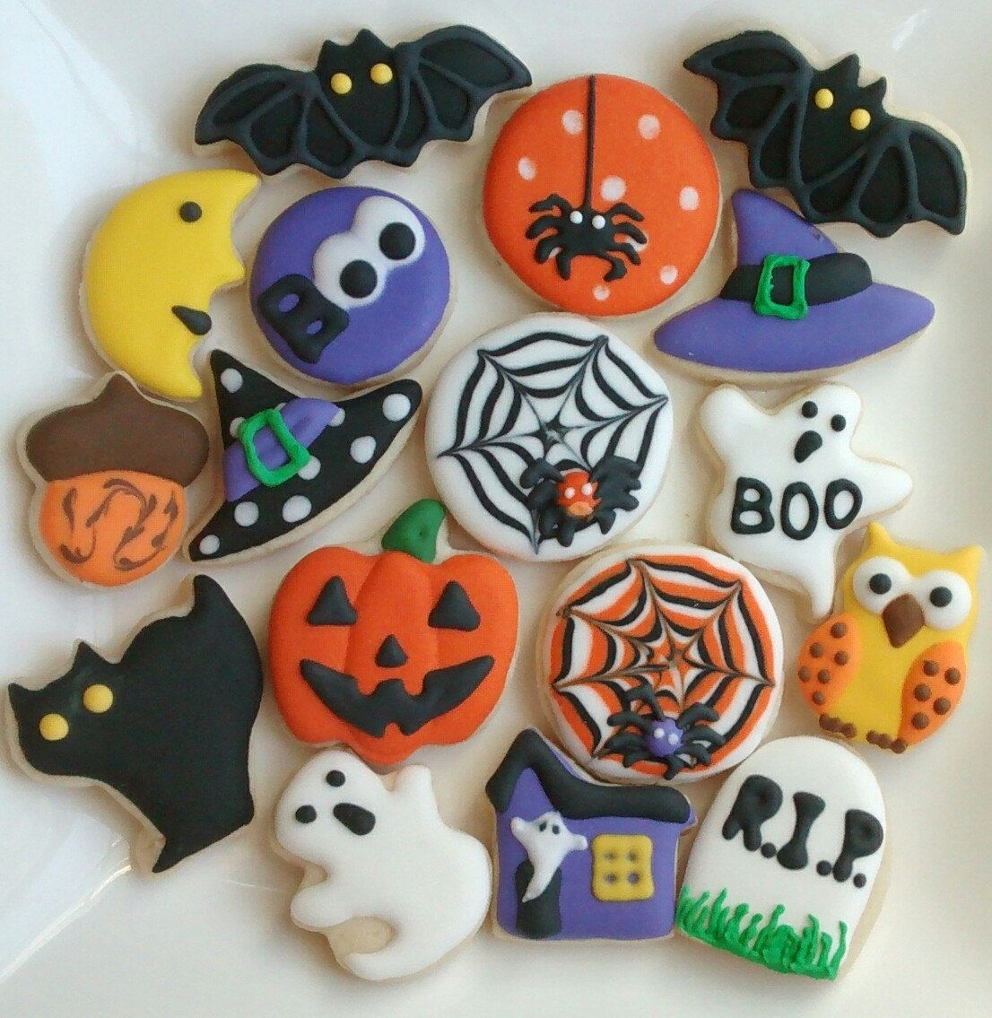 Owl Decorated Cookies Halloween Sugar Cookies Mini Or Large Decorated With Royal Icing