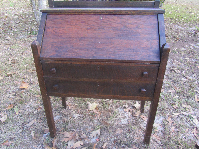 Antique Mission Style Secretary Desk And Chair Slant Top Desk Furniture Desk Oak Chair Cros Kills Co Piqua Ohio By Ka Oak Chair Secretary Desks Tiger Oak