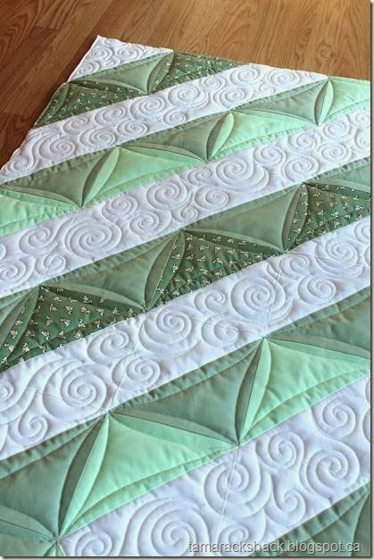 Minky backing -quilting swirls and curve d edges