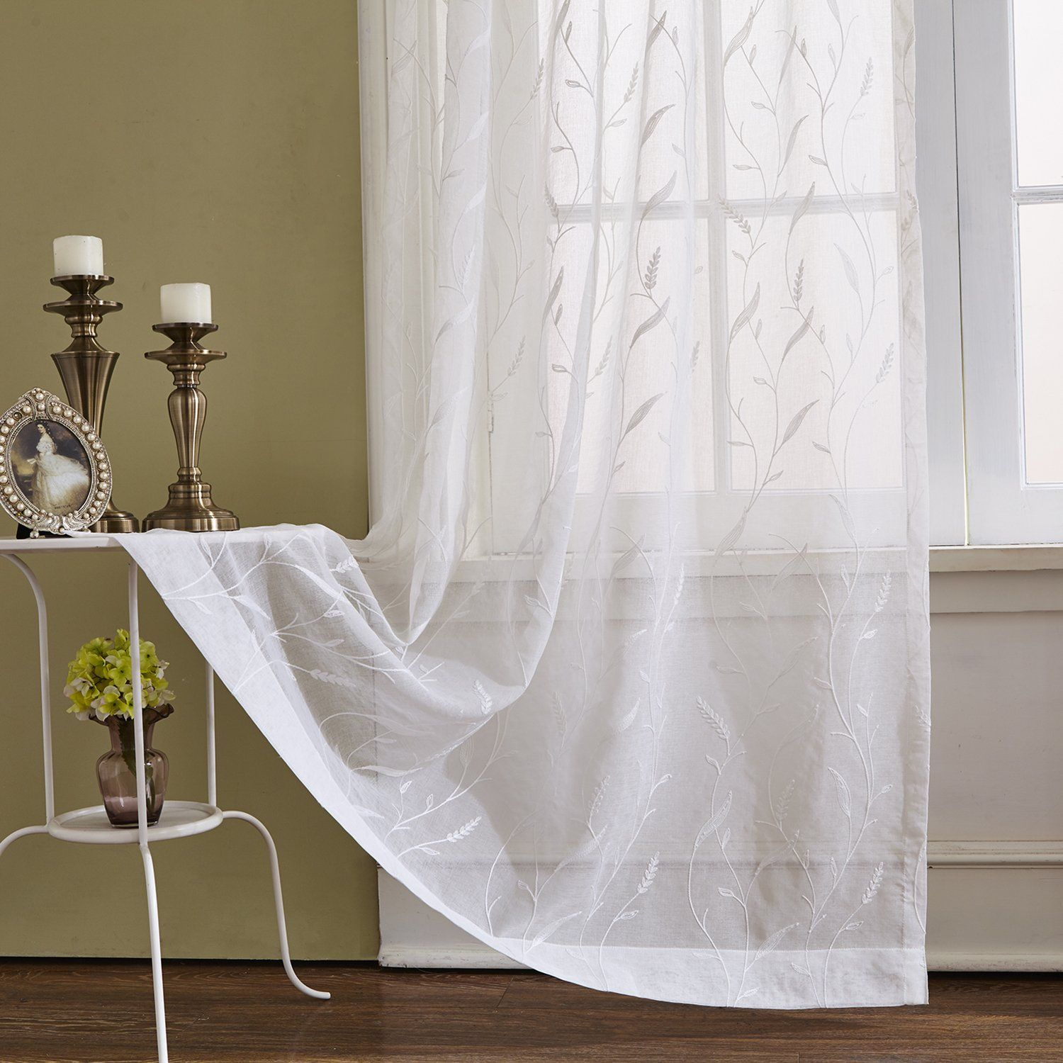 White Rod Pocket Sheer Curtains 106 Inches Long Tassels