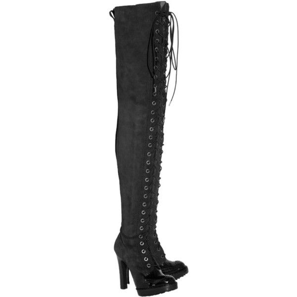 8be5b4966c780 Pre-owned Mcq By Alexander Mcqueen Over-the-knee Merlot Boots ($1,285) ❤  liked on Polyvore featuring shoes, boots, merlot, over knee boots, patent  lace up ...