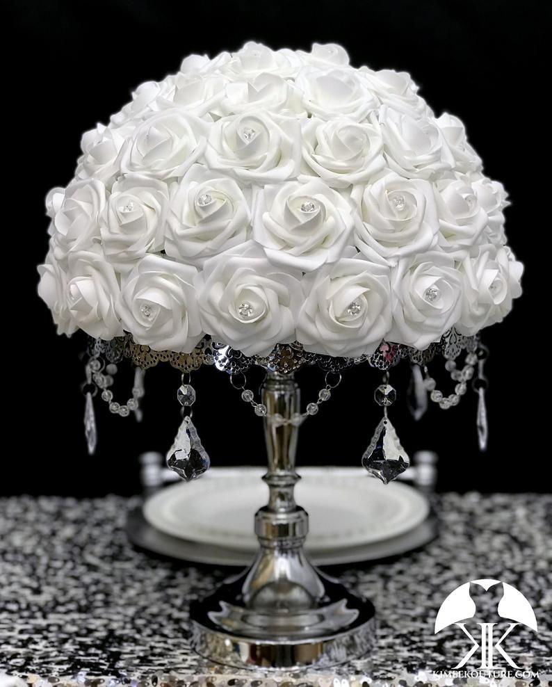 White Rose Arrangement With Rhinestones Half Flower Ball Pomander Floating Flower Ball White Wedding Centerpiece Pick Rose Color In 2020 White Wedding Centerpieces Purple Wedding Centerpieces Wedding Centerpieces