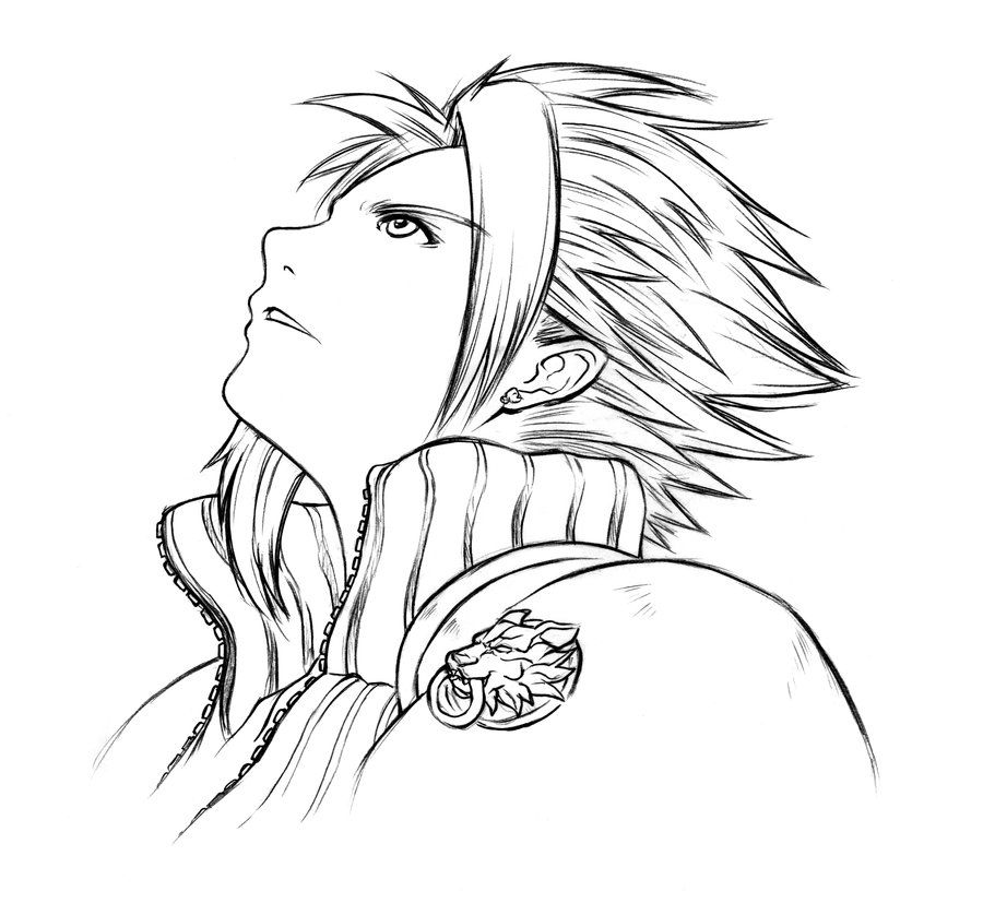 Cloud Lineart Clouds Coloring Pages Final Fantasy Vii