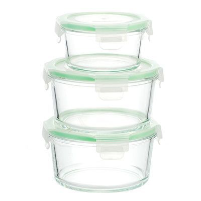 Kinetic Glasslock 6 Piece Round Oven Safe Glass Food Storage Container Set  Color: Green