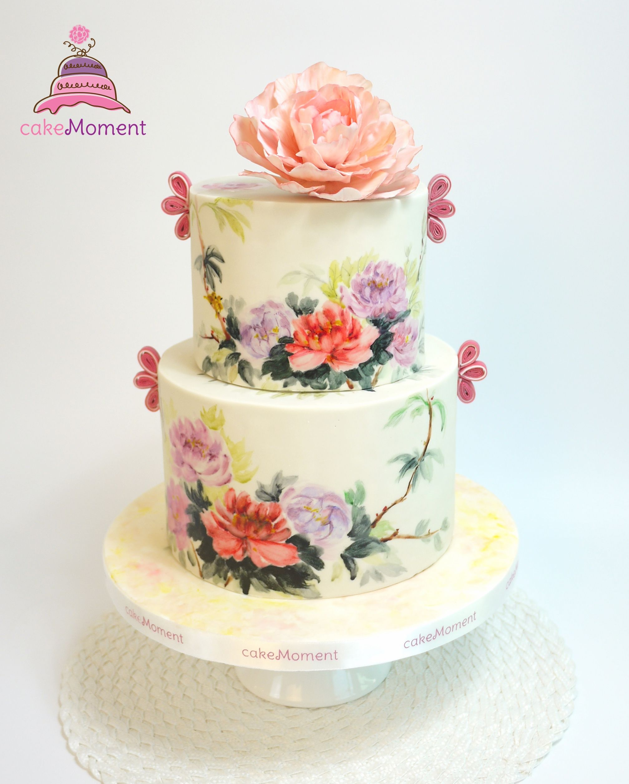 Cakemoment Cakemomenthk Cakemoment Wedding Hk Wedding Cake Hk Sugar Flowers Elegant Contemporary C Hand Painted Cakes Painted Cakes Wedding Cakes
