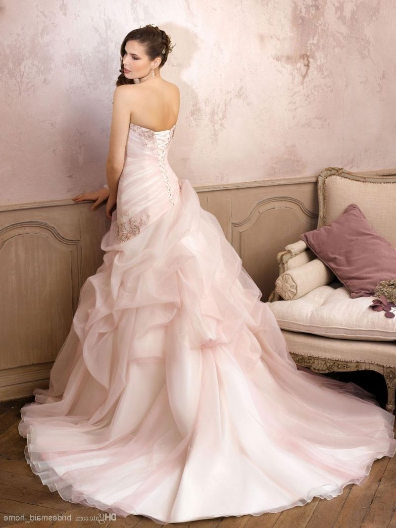 Romantic Blush Pink Ball-gown Wedding Dress With Beading. Perfect ...