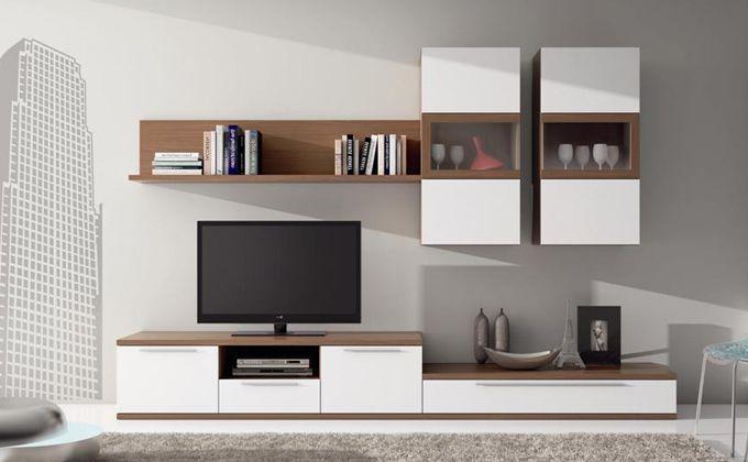 Muebles salon blanco y madera buscar con google home for Muebles blanco salon