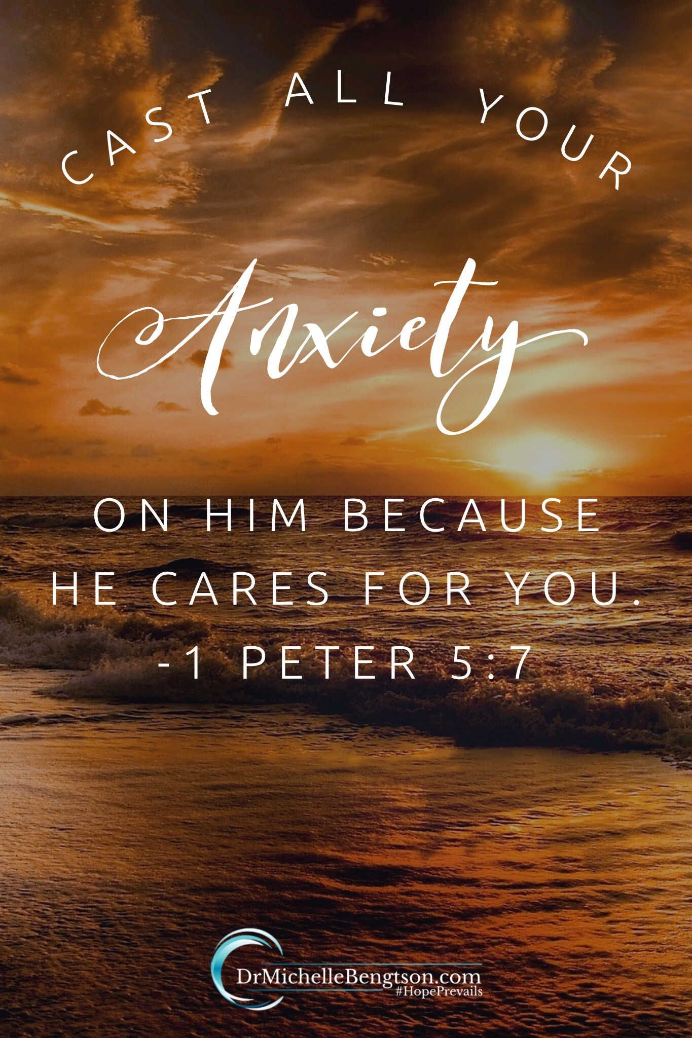 """Weariness is a sure sign we are carrying things we weren't meant to carry. At a time when I was overwhelmed by a lengthy to-do list, God spoke this scripture to my heart: """"Cast all your anxiety on him because he cares for you"""" (1 Peter 5:7). He said to cast ALL my anxiety on Him. Not just some, not just that which I feel comfortable with or desperate for, but all. Why? BECAUSE he cares for me. Because He cares for me I can trust Him. #Bibleverse #anxiety #encouragement"""