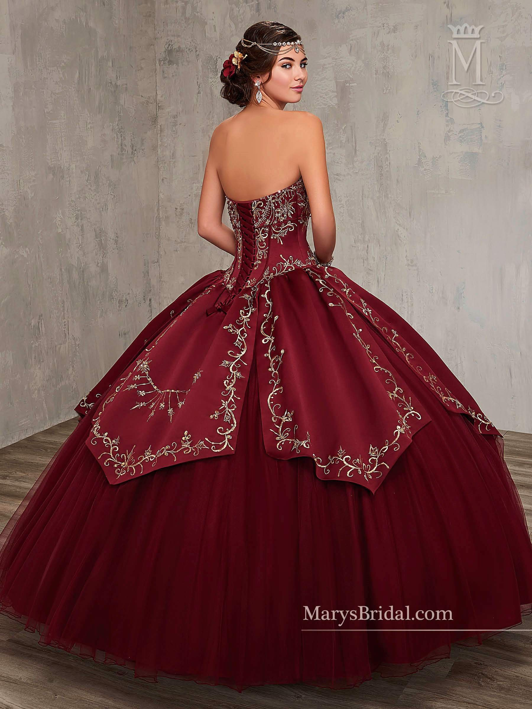 9eb171bd3 Embroidered Satin Quinceanera Dress by Mary s Bridal Princess 4Q516 – ABC  Fashion