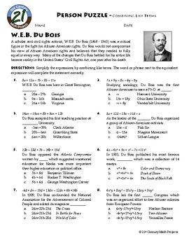 Person Puzzle Combining Like Terms W.E.B. Du Bois