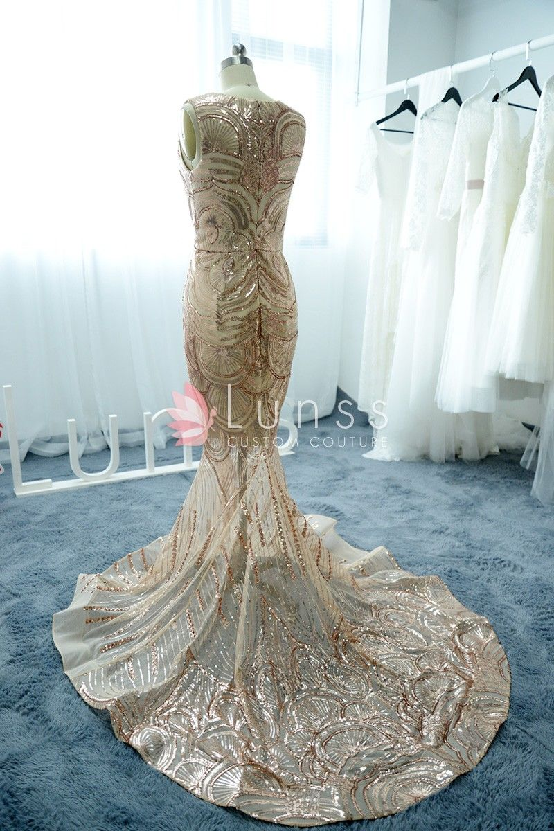 Patterned shining gold Sequin Mermaid prom Dress 3 | Lunss Formal ...