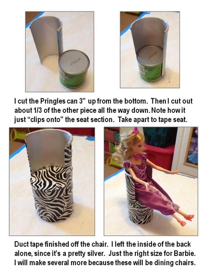 Pringles Can Barbie Chair tutorial #barbiefurniture