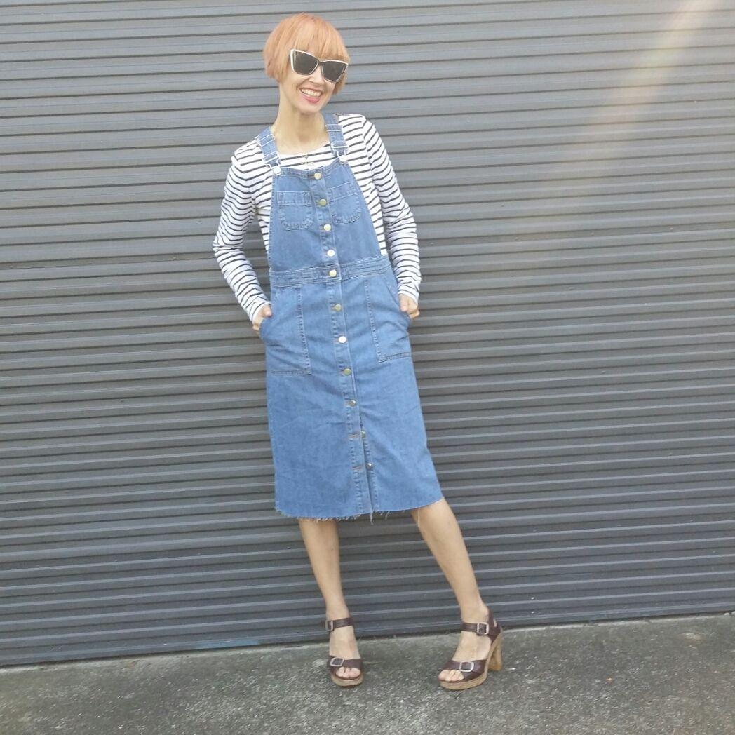 Love me  #denimpinafore #denim #overalls #dress from #Asos #chloe sandals #70s #streetstyle