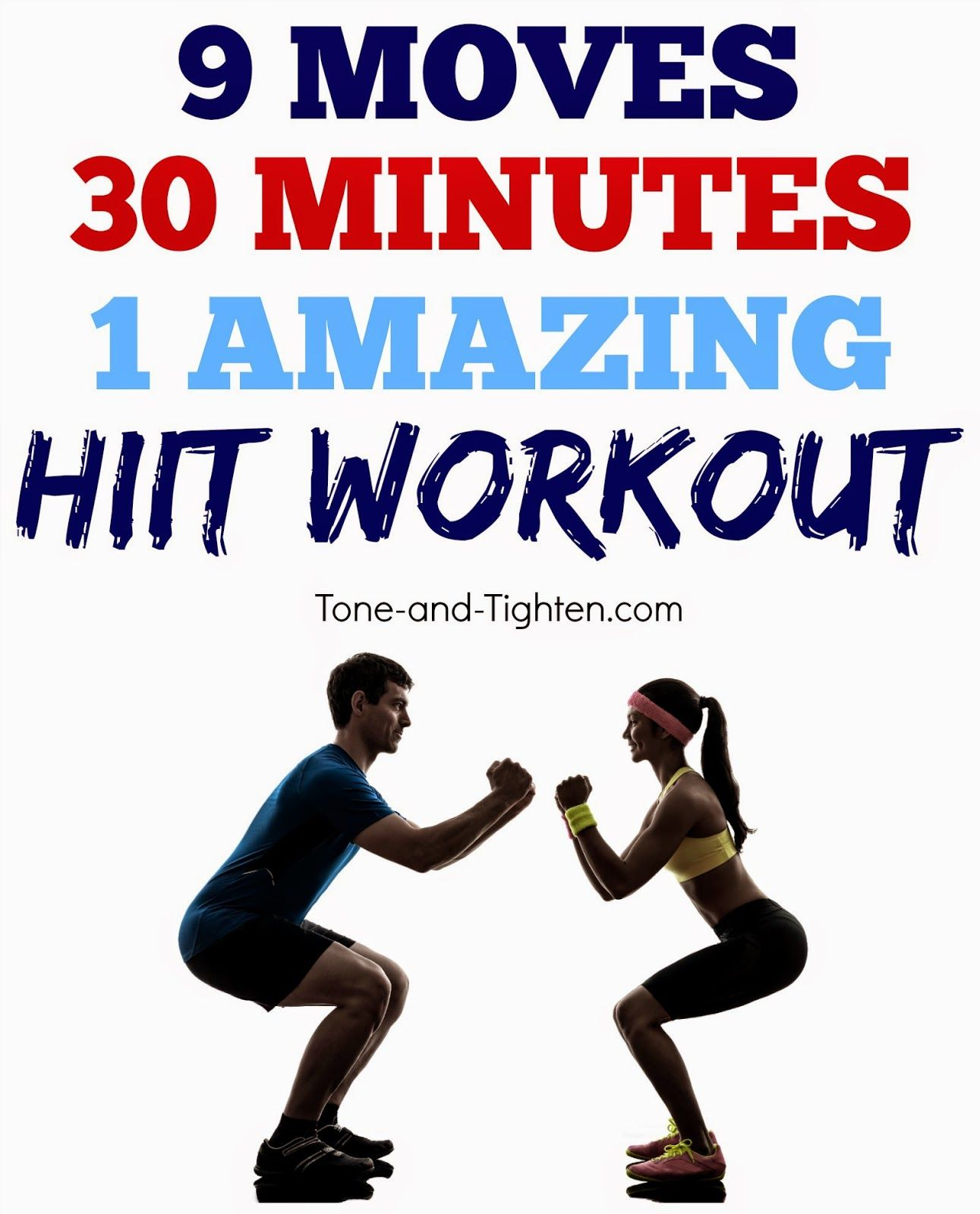 Amazing 30-minute HIIT workout you can do at home! Burns 300+ calories! #workout from Tone-and-Tighten.com