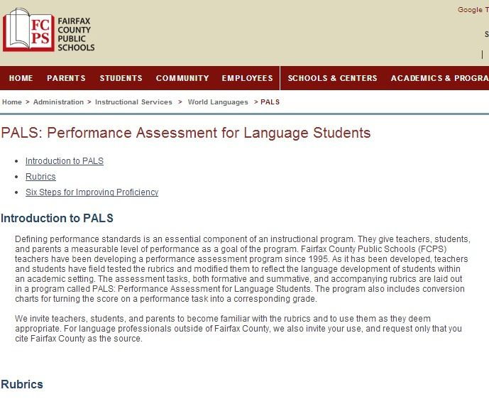Fasirfax Co Pals Performance Assessment For Language Students