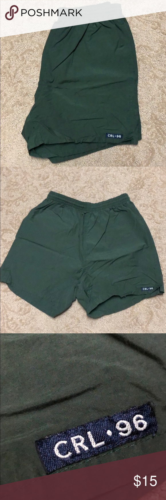 748111657e Chaps Ralph Lauren Above the Knees Swim Trunks VINTAGE Dark Green Size  Small 60% Cotton