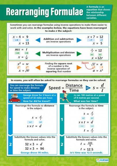 Rearranging Formulae Poster Matematiikka Pinterest Maths