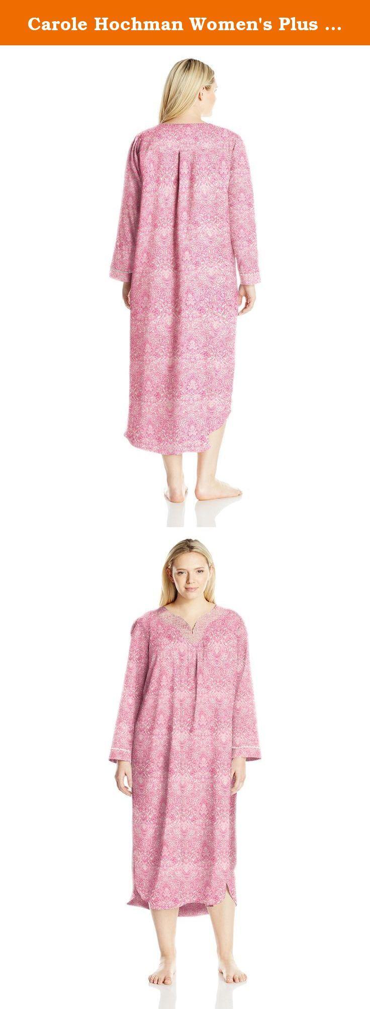 Carole Hochman Women\'s Plus Size Brush Back Satin Long Gown, Pink ...