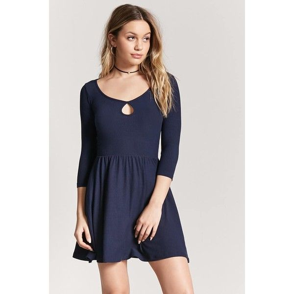 Forever21 Heathered Cutout Skater Dress 15 Liked On Polyvore Featuring Dresses Navy