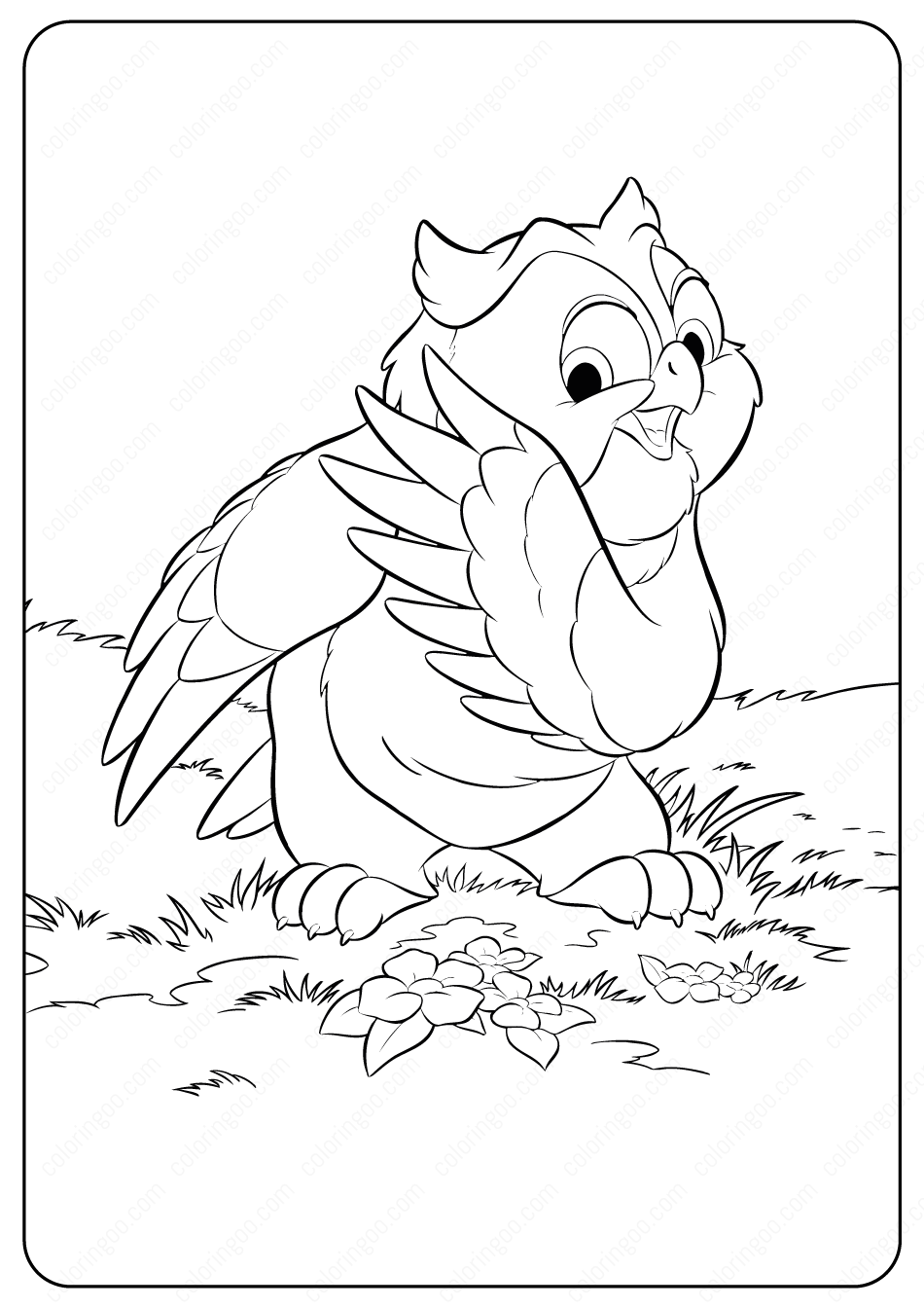 Bambi Friend Owl Coloring Pages Owl Coloring Pages Coloring Pages Owl Cartoon