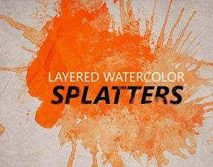 Layered Watercolor Splatters Photoshop Brush Watercolor Splatter