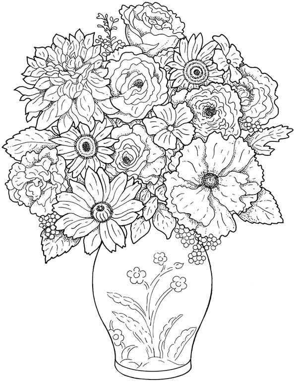 Bursting Blossoms Flower Coloring Page Flower Coloring Pages