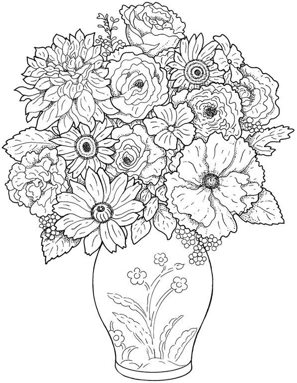 Flower Vase 2 Printable Flower Coloring Pages Detailed Coloring Pages Butterfly Coloring Page