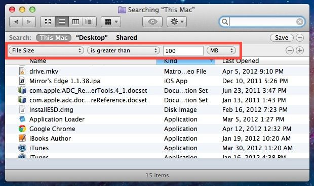 Find Large Files In Mac Os X With Search Dengan Gambar