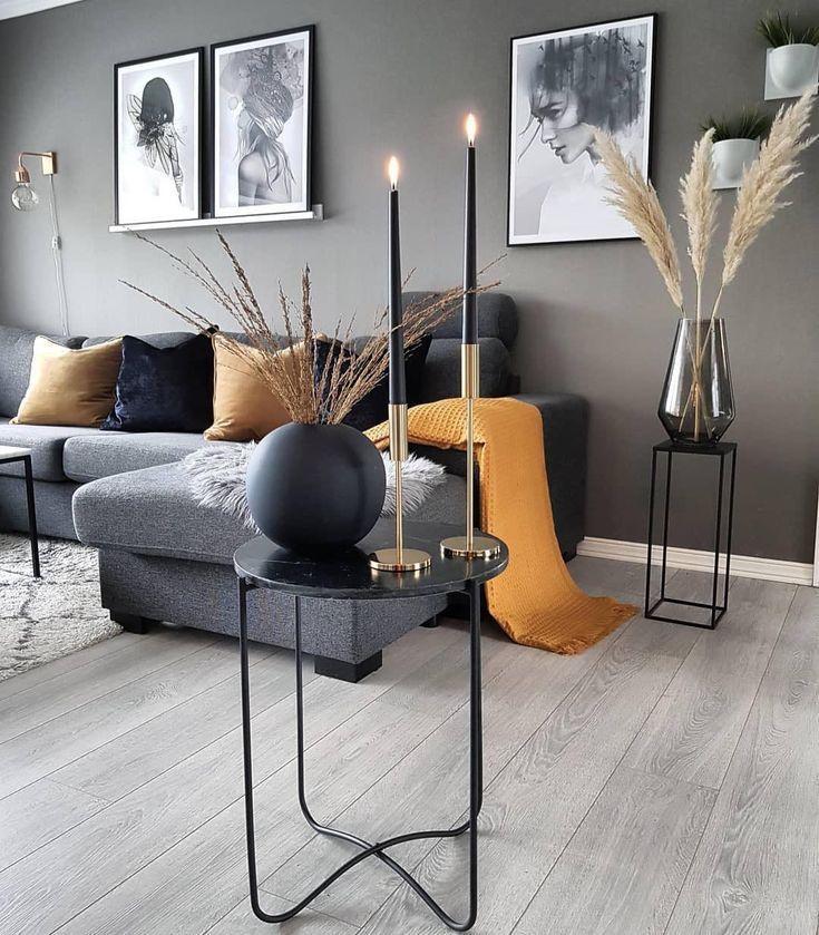 chic schwarz und weiß Wohnzimmer Interieur, moderne