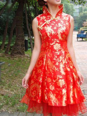 2012 Cheongsam Cheap 2012 noble red peony brocade jacquard knee length sleeveless a-line chinese wedding cheongsam dress - $118.10 : 2012 Cheongsam | 2012 Cheongsam Dress - SinoCheongsam.com, 2012 Chinese Cheongsam