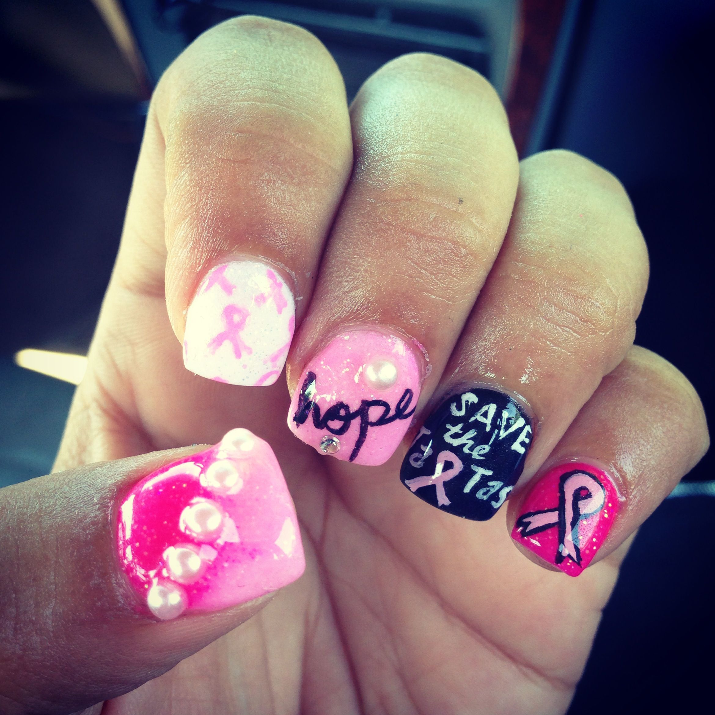 Breast cancer nails! Save the tatas