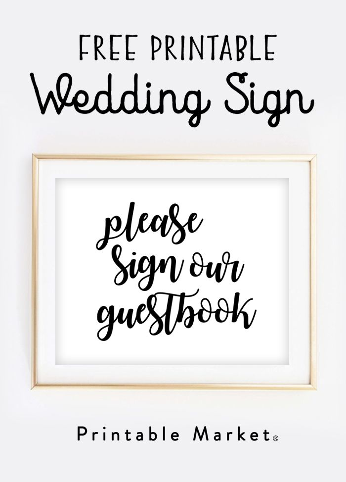 Free wedding sign printable please sign our guestbook free printable wedding guestbook and for Wedding signs templates