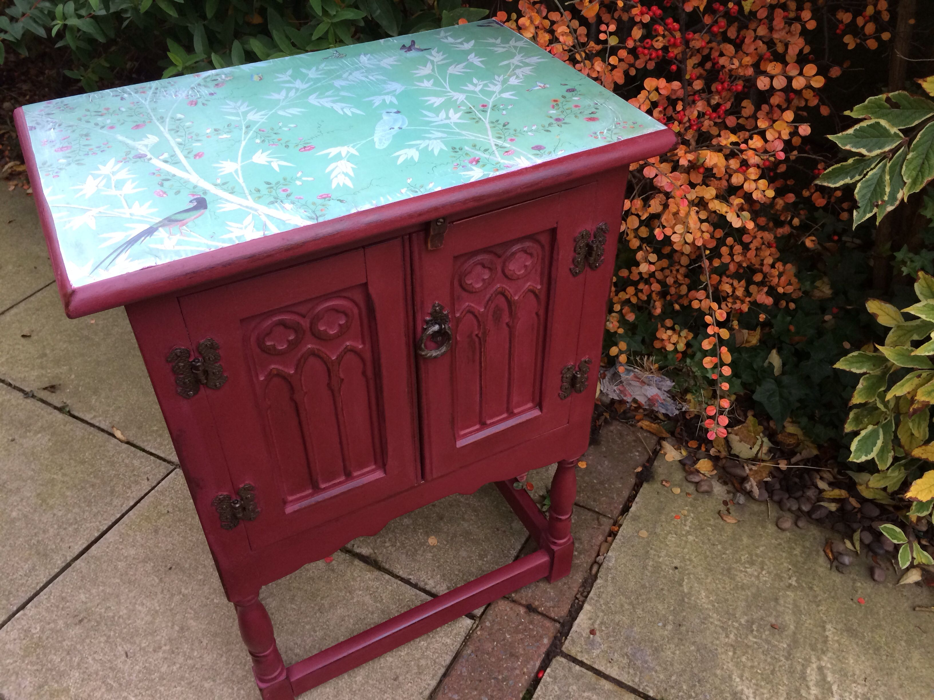 Antique Cupboard In Annie Sloan Burgundy Chalk Paint With Chatsworth Inspired  Decoupage