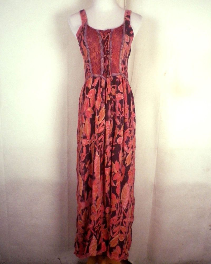 euc Gypsy Rose made from the earth Gauze Hippie Corset Dress Peasant Boho SZ 8 #GypsyRose
