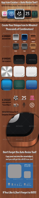 UPDATED ! Retina App Icon Creator Template Auto Resize