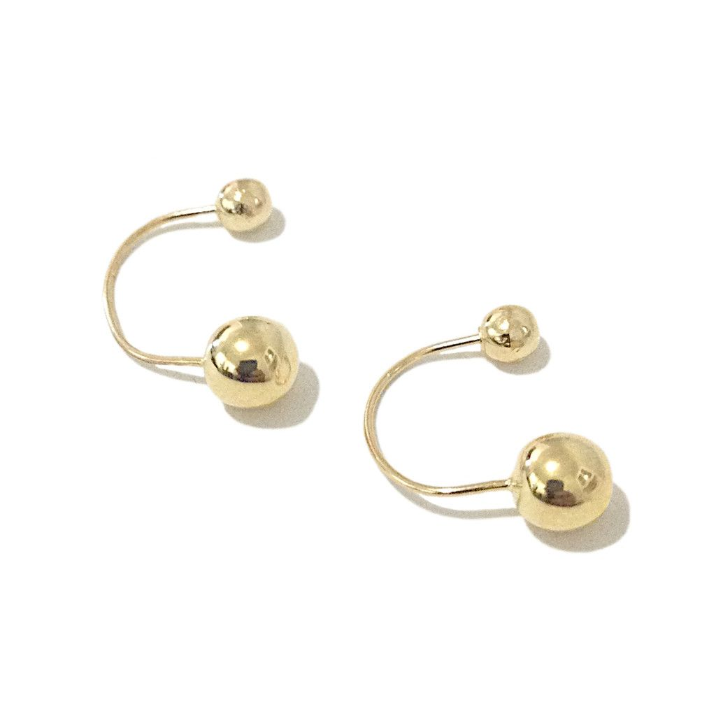 Barbell Collection 14k Gold Double Ball Drop Earrings Nana Bijou