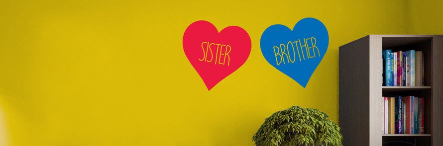 Sister in Magenta pink and Brother in Ocean blue love heart family ...