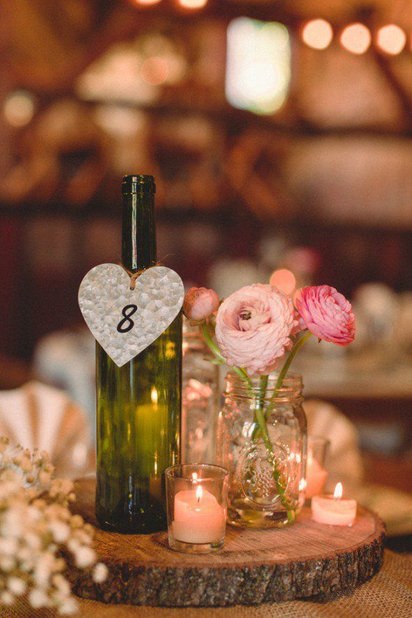 Fall barn wedding rustic centrepieces
