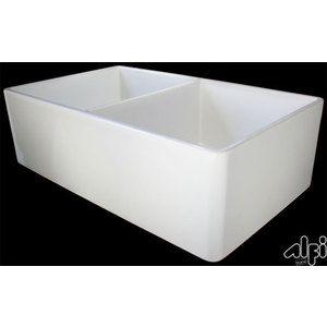 """Alfi AB538-B 32"""" Smooth Double Bowl Fireclay Farmhouse Kitchen Sink"""